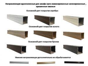 Направляющие однопосные для шкафа купе ламинированные, шпонированные, крашенные эмалью Гомель